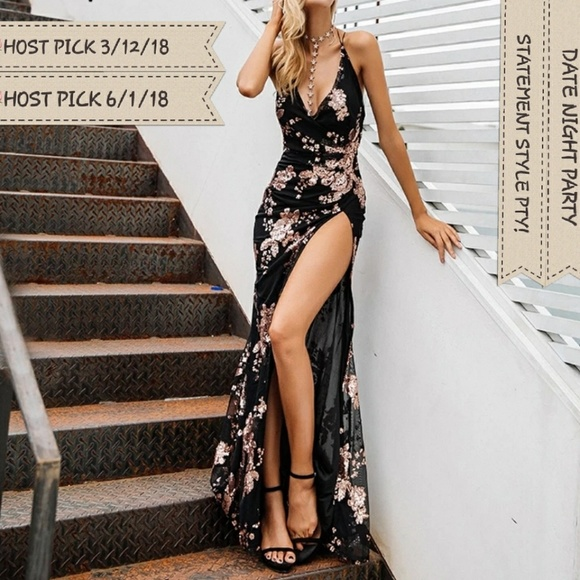 d12627410ad 🌹2XHP🌹Sexy Sequin Backless High Split Maxi Dress